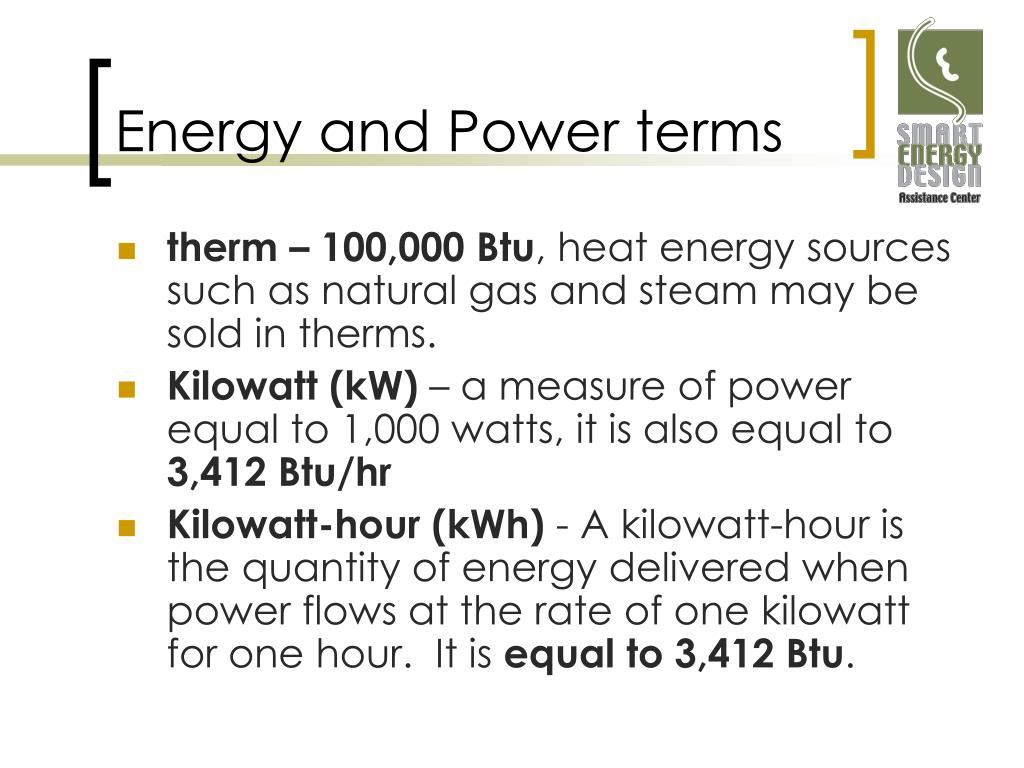 Energy and Power terms