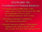 standard 189 coordination w national initiatives