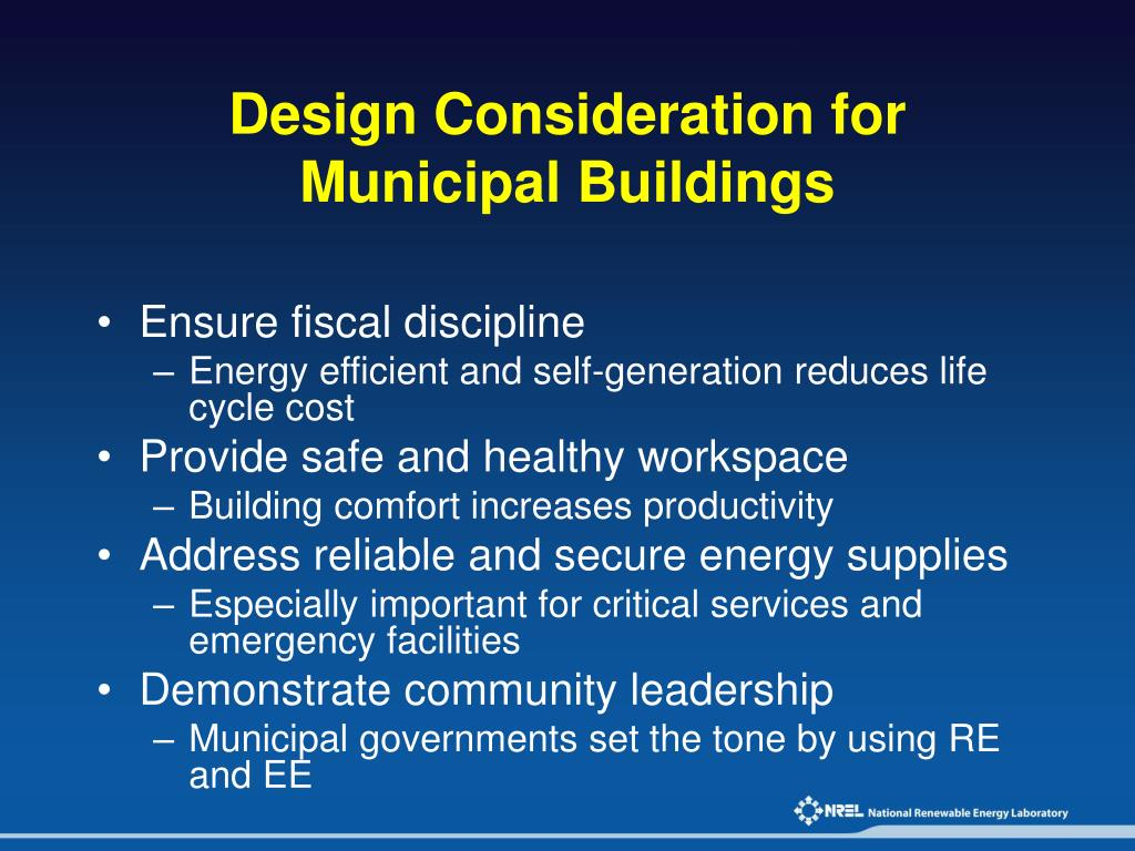 Design Consideration for Municipal Buildings
