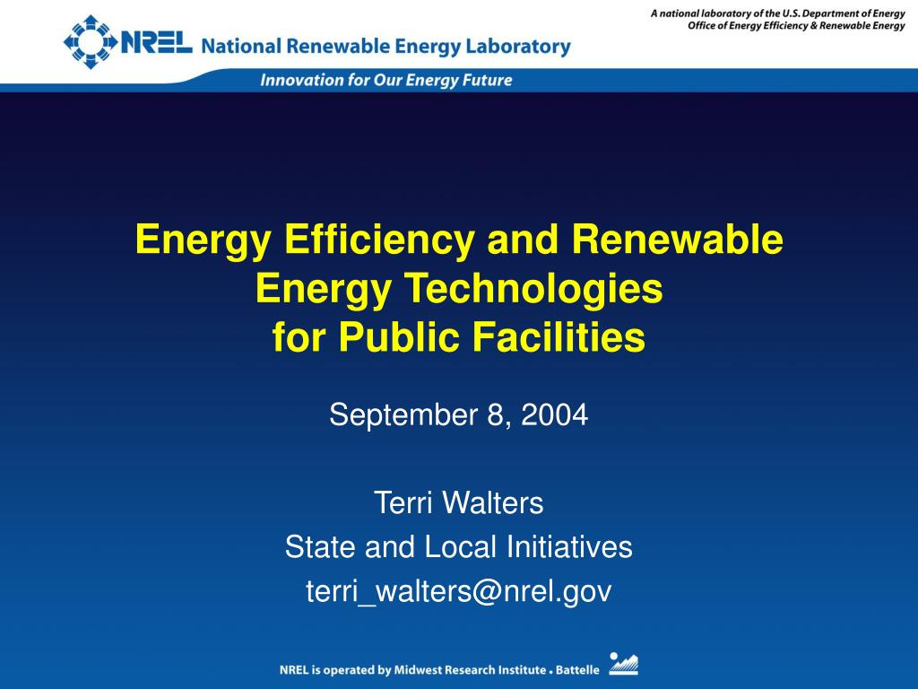 energy efficiency and renewable energy technologies for public facilities l.