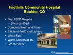 foothills community hospital boulder co