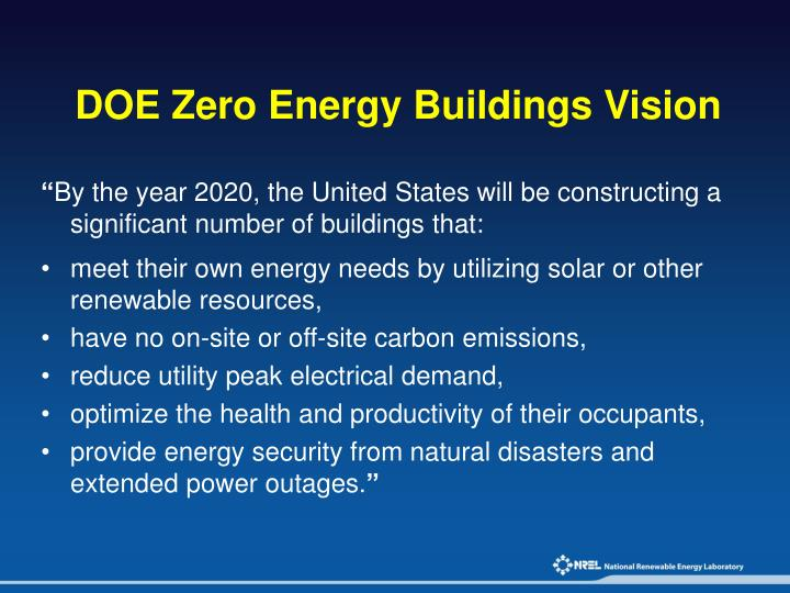 DOE Zero Energy Buildings Vision
