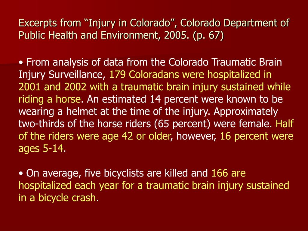 """Excerpts from """"Injury in Colorado"""", Colorado Department of Public Health and Environment, 2005. (p. 67)"""