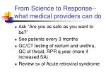 from science to response what medical providers can do