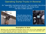 operating dump trucks in reverse28