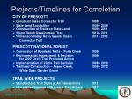 projects timelines for completion