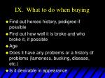 ix what to do when buying