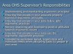 area ohs supervisor s responsibilities