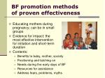 bf promotion methods of proven effectiveness