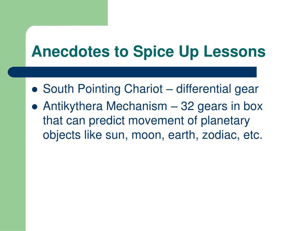 Anecdotes to Spice Up Lessons