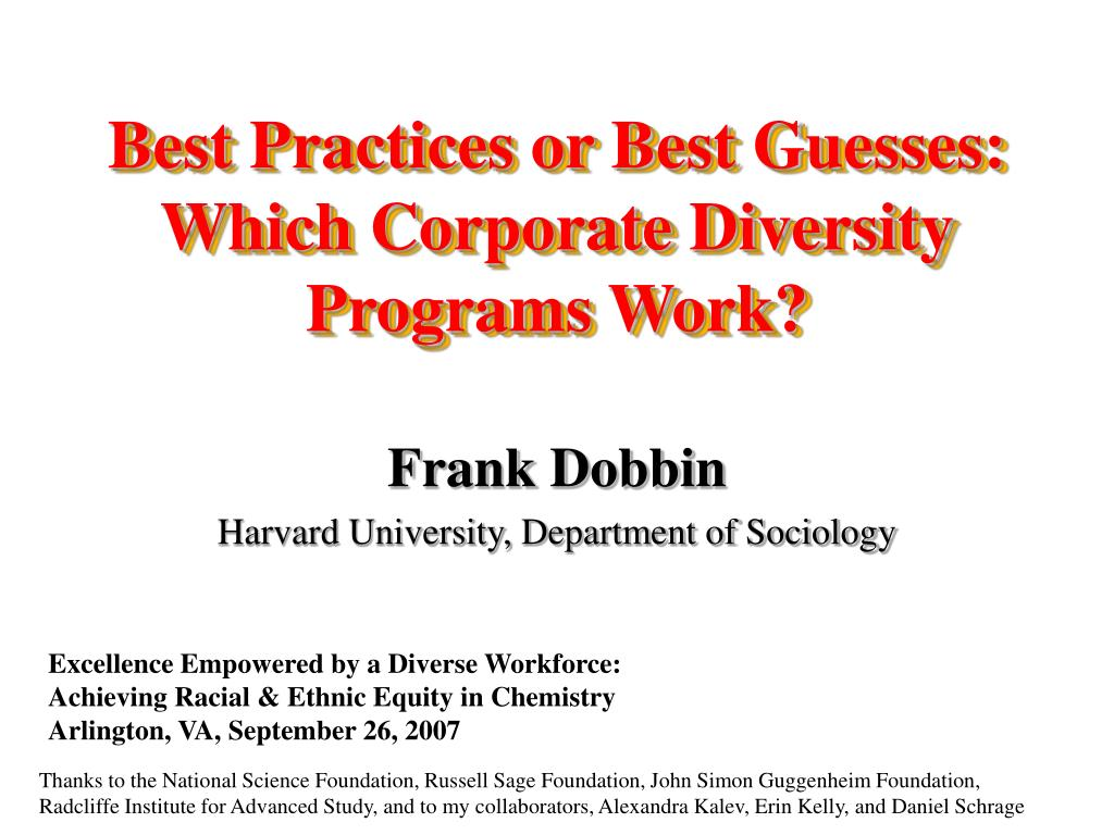 best practices or best guesses which corporate diversity programs work l.