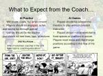 what to expect from the coach