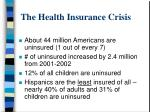 the health insurance crisis