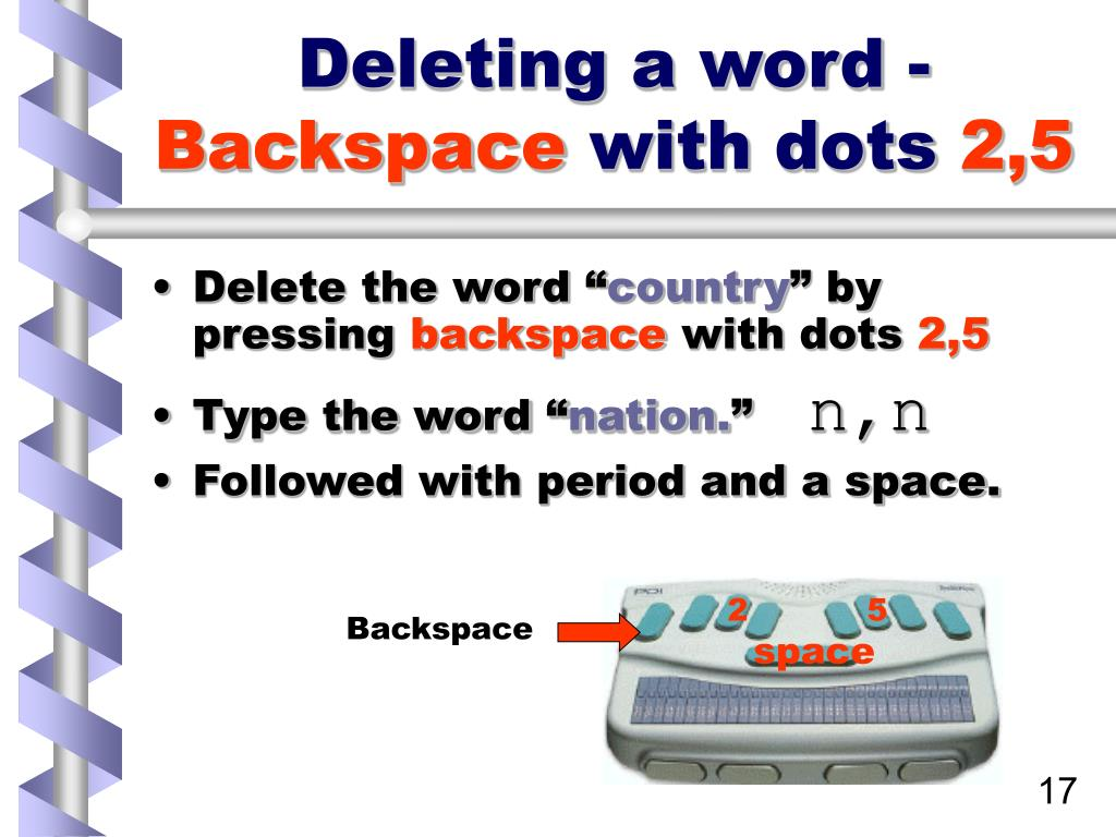 Deleting a word -