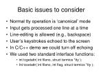 basic issues to consider