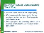 inserting text and understanding word wrap