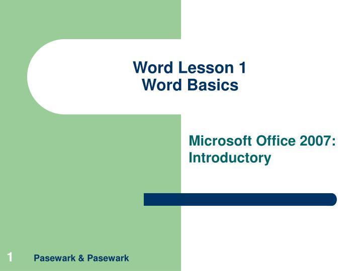word lesson 1 word basics n.
