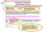 homework problems choosing an answer