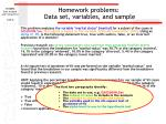 homework problems data set variables and sample