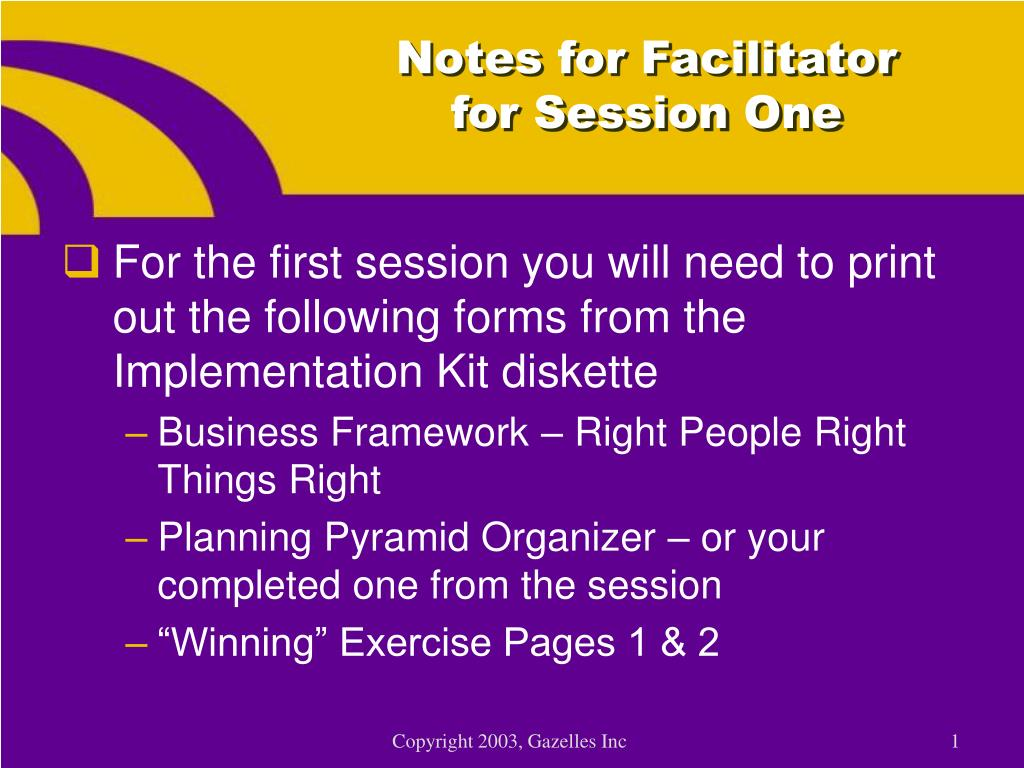 notes for facilitator for session one l.