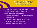 notes for facilitator for session one
