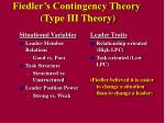 fiedler s contingency theory type iii theory