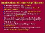 implications of leadership theories