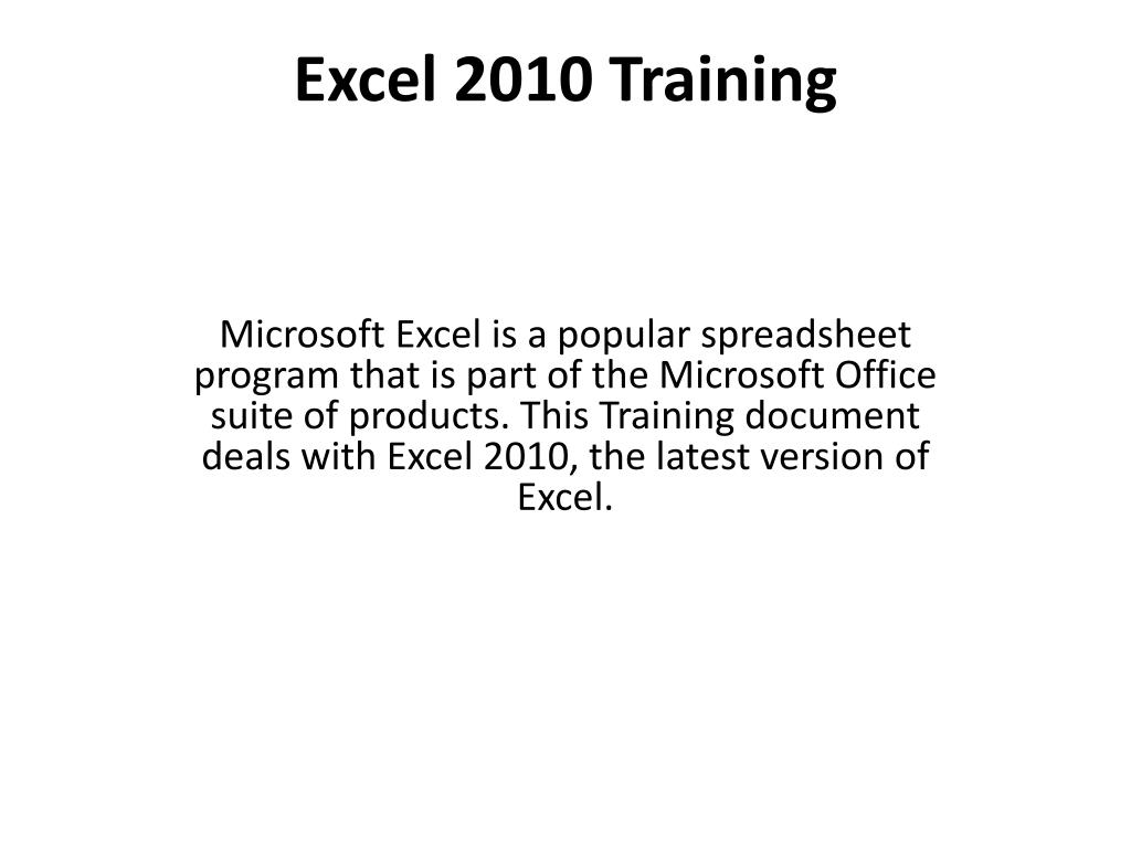 excel 2010 training l.