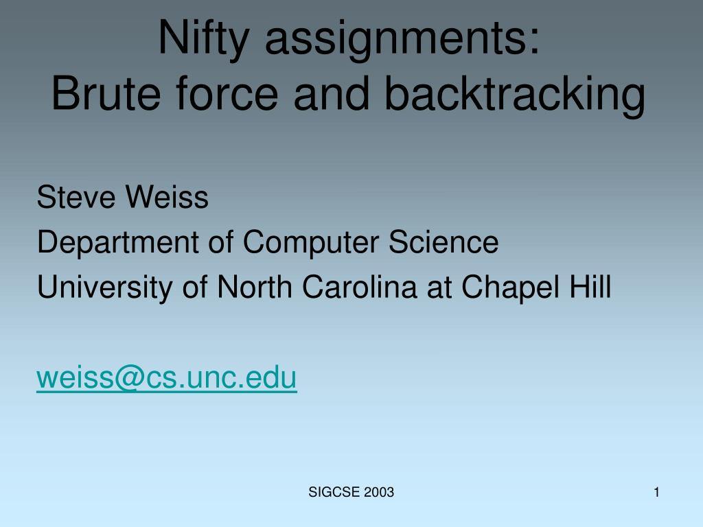 nifty assignments brute force and backtracking l.