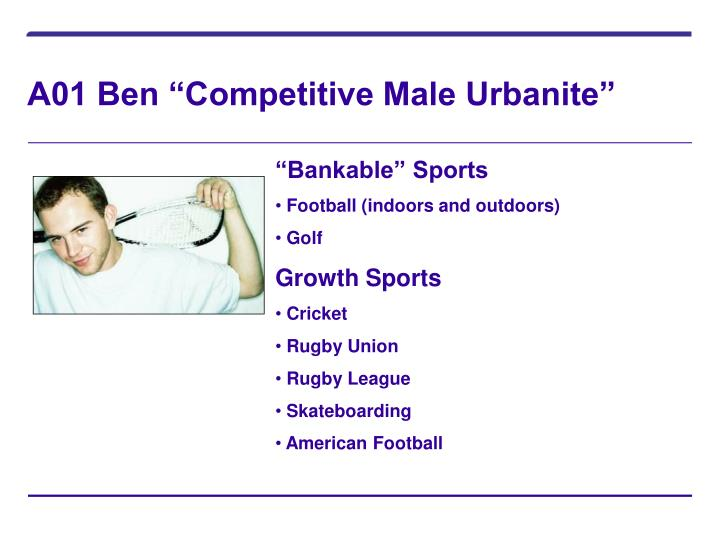 """A01 Ben """"Competitive Male Urbanite"""""""