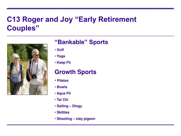 """C13 Roger and Joy """"Early Retirement Couples"""""""