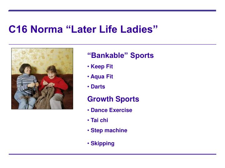 "C16 Norma ""Later Life Ladies"""