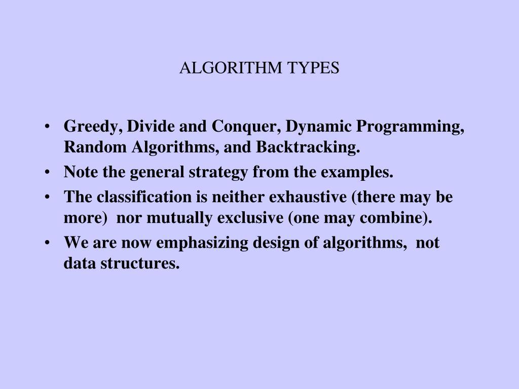 algorithm types l.