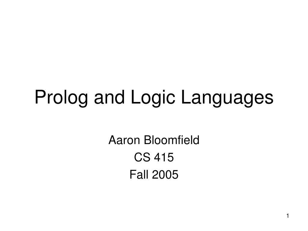 prolog and logic languages l.