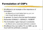 formulation of csp s
