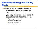 activities during feasibility study1