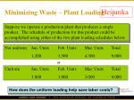 minimizing waste plant loading