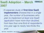 saas adoption march 200711