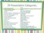 39 presentation categories