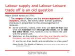 labour supply and labour leisure trade off is an old question