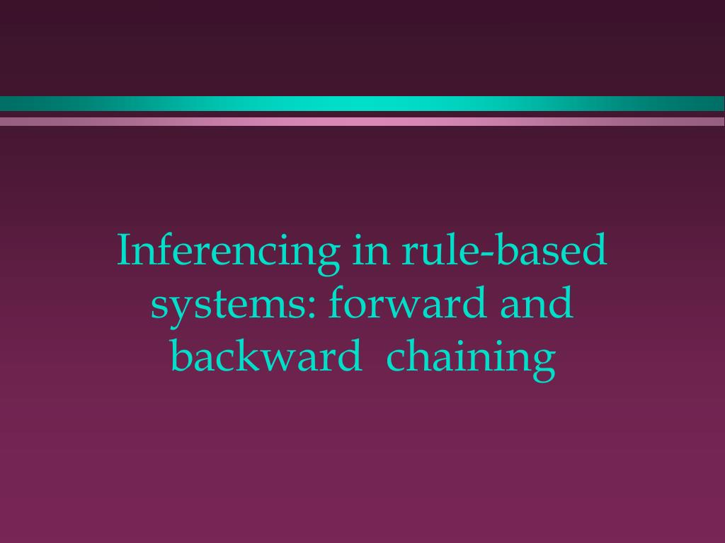 inferencing in rule based systems forward and backward chaining l.