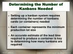 determining the number of kanbans needed