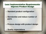 lean implementation requirements improve product design
