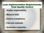lean implementation requirements total quality control