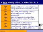 a brief history of ubd at mrh year 1 4