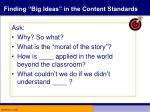 finding big ideas in the content standards