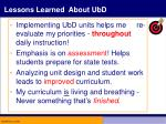lessons learned about ubd