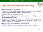 sustainable rural livelihood security