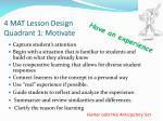 4 mat lesson design quadrant 1 motivate