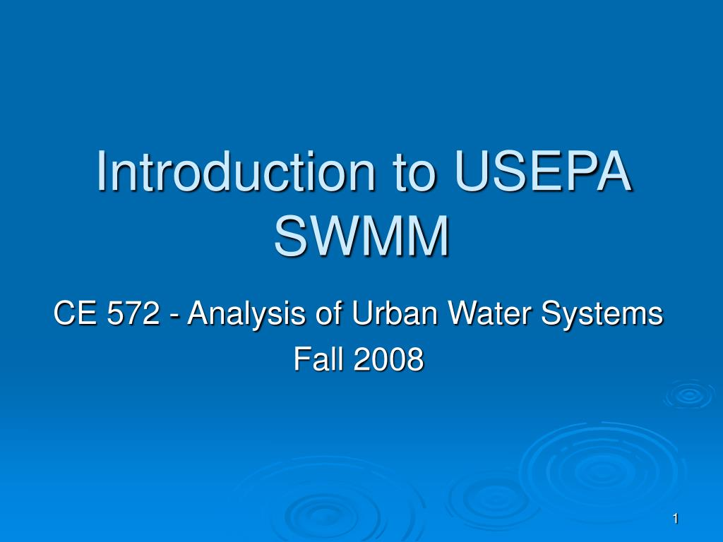 introduction to usepa swmm l.